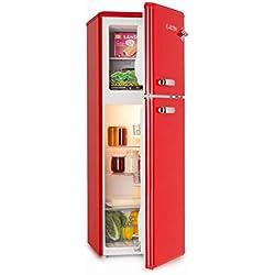 Klarstein Audrey • Nevera con congelador • Frigorífico combi • Look retro • Congelador 39L • Refrigerador 97L • Pies regulables • Enfriamiento regulable • Cajón verduras • Estantes de vidrio • Rojo