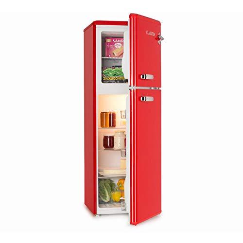 Klarstein Audrey - Nevera con congelador, Frigorífico combi, Look retro, Congelador 39L, Refrigerador 97L, Pies regulables, Enfriamiento regulable, Cajón verduras, Estantes de vidrio, Rojo