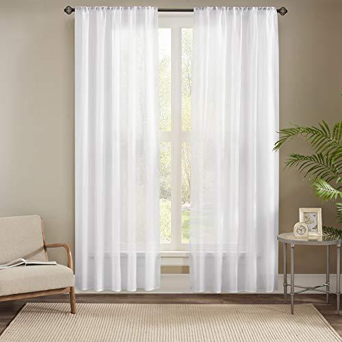 Gardinen Schals in Leinen-Optik Leinenstruktur Vorhänge Schlafzimmer Vorhang für kleine Fenster Emma Offwhite, kurz (2er-Set, je 175x140cm)