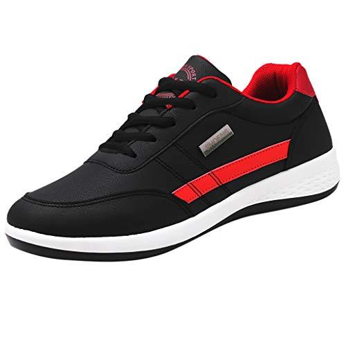 ☺HWTOP Männer Sneakers Walking Schuhe Herren Sportschuhe Turnschuhe Casual Leder Schuhe Atmungsaktive Schnürschuhe Laufschuhe