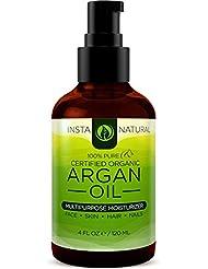 InstaNatural huile d'argan biologique - pour les cheveux , le visage, la peau et le corps - le meilleur 100% pure et certifiée huile extra bio d'argan marocaine vierge - pour l'acné , les ongles , le cuir chevelu sec , les pointes fourchues , les vergetures et plus - 4 OZ