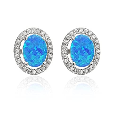 LANMPU Blue Opal Sterling Silver Fire Jewellery Earings Studs for Womens