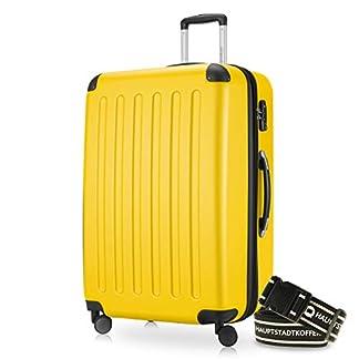 Hauptstadtkoffer® Spree 1203 Maleta rígida, 128 l, mate, cerradura de combinación TSA, correa de equipaje, amarillo (Amarillo) – HK1203-128