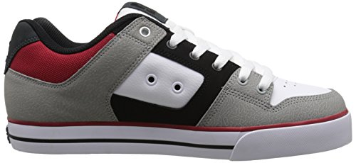 DC Men's Pure Skate Shoe, Black/Grey/Red, 6 M US (Grey Black)
