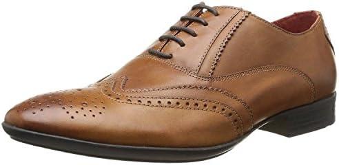 Base London Governor Tan Hombre Cuero Formal Oxford Brogue Zapatos