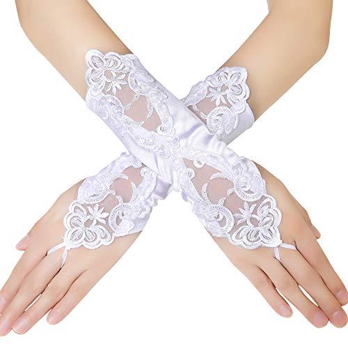 BABEYOND Damen Handschuhe Satin Classic Opera Fest Party Audrey Hepburn Handschuhe 1920er Stil Handschuhe Elastisch Erwachsene Größe Ellenbogen bis Handgelenk Länge 52/55cm (Spitze Kurz/Weiß)