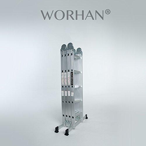 WORHAN 5.7m Échelle Aluminium Multifonction Modèle GROSSE CHARNIÈRE Polyvalente Escabeau Échafaudage Multi-usage ALU Modulable Pliable KS5.7