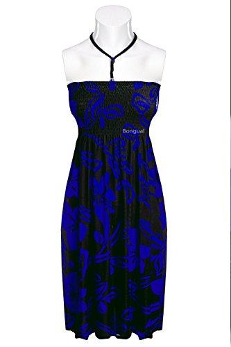 """2in1 Bongual Strandkleid Sommerkleid Sommerrock Boho Hippie Look Neckholder """"Hawaii"""" Blau"""