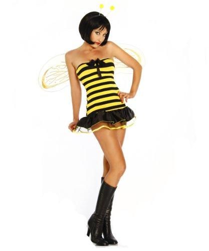 Yourdesignerz sexy Bienen-Kostüm Damen gelb-schwarz XL Verkleidung sexy mit Minikleid, Haarreif mit Fühlern, 1 Paar Flügel, String