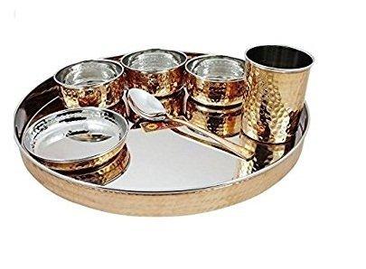 crafts al-numan cuivre de table en acier : 1 assiette, 1 bol, 3 3 en verre et 1 cuillère
