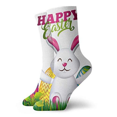 REordernow Kurze Socken für Männer, Frauen Easter Bunny Eggs Mens Printed Funny Novelty Casual Crew Dress Socks For Men Women Yoga Hiking Cycling Running Soccer Sports -