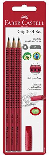 Faber-Castell 580221 - Grip 2001 Set, 3 Bleistifte, inklusive Eraser Cap, rot