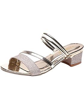 Chanclas para Mujer Verano 2018 PAOLIAN Playa Sandalias y Chanclas con Lentejuelas Cuña Zapatos Tacón Mediano...