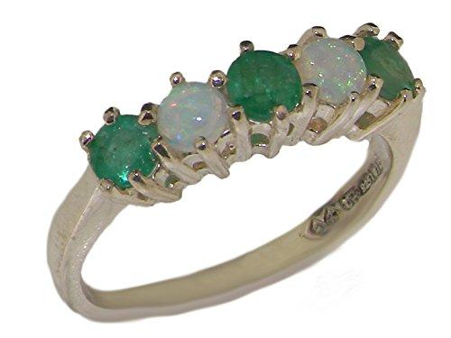 Luxus Damen Ring Solide 10 Karat (417) Weißgold mit Smaragd und Opal - Verfügbare Größen : 47 bis 68 (Echter Opal Ring Größe 7)