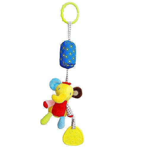 CTGVH Baby Kinderwagen Spielzeug, Soft Plüsch Animal Hängende Spielzeuge mit Beißring Ring Glocken für Infant Arch Kinderwagen Kinderbett Kleinkind Tier Rassel Puppe (Großer Elefant Windspiel) (Kinderwagen Arch)