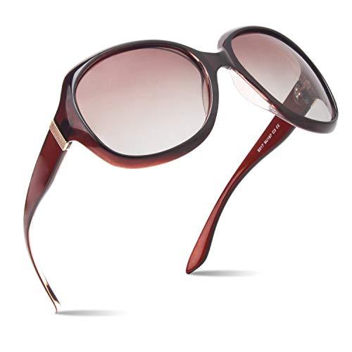 CGID Polarisierte Sonnenbrille für Damen Sonnenbrillen für Frauen Oversized Polaroid-Gläser UV400 Schutz Getönte Brille 100% UV 400 Brille Klassische Metall Ornamente Farbverlauf Braun PC Rahmen