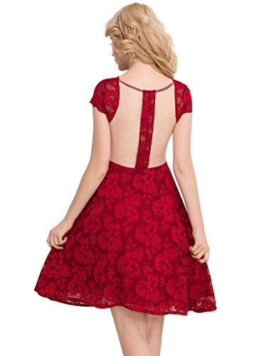 Ohyeah - Robe - Cocktail - Manches Courtes - Femme red
