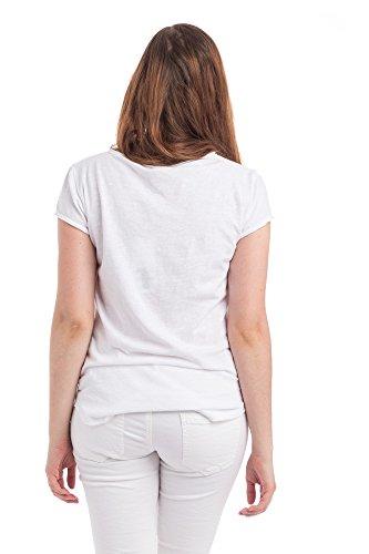 Abbino Damen Shirts Tops - Made in Italy - Rundhals Taillenlang Flügelärmel Kurzarm 1/4 Arm Sommer Uni Unifarben Sale Basics Tshirts T Damenshirts Damentops Feminin Regular Fit Freizeit Weiss (Art. 308)