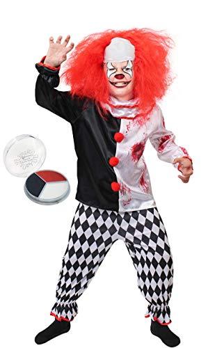 Halloween Böser Clown Kostüm - ILOVEFANCYDRESS Kinder Horror Clown KOSTÜM Verkleidung = Halloween=Das KOSTÜM IST ERHALTBAR MIT ODER OHNE ZUBEHÖR = Fasching Karneval = Grusel = PERRÜCKE+ Make up +KOSTÜM (EXTRA Large)