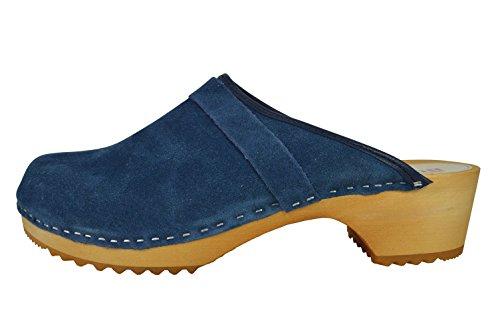 Buxa Zoccoli Semplice Unisex in Legno/Pelle Scamosciata Blu