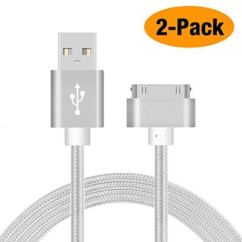 AUSWAUR Lot de 2 Câble 30 Pin vers USB pour iPhone 4s 4, iPhone 3G 3GS, iPad 1 2 3, iPod et Autre, Sync Data USB, 1m, Argent