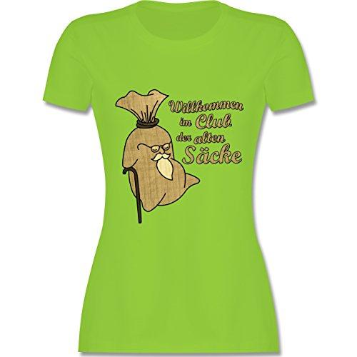 Geburtstag - Willkommen im Club der alten Säcke - tailliertes Premium T-Shirt mit Rundhalsausschnitt für Damen Hellgrün