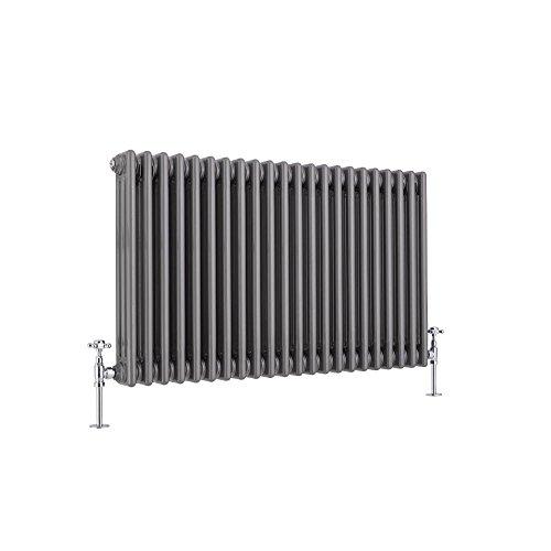 Hudson Reed Regent Radiador de Diseño Horizontal en Estilo de Hierro Fundido - Radiador con Acabado Lacado Metal Rudo - Columnas 3 x 22-1608W - 600 x 1010 x 100mm - Calefacción