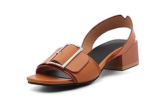 NobS Metal Mary Jane Open Toe Chunky Ferse Sandalen Frauen Große Größe Ankle Strap Schuhe 40-45size Brown
