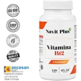Vitamina B12 Navit Plus | 120 Cápsulas vegetales. Complemento alimenticio con B1, B2,