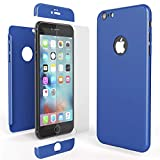 NALIA 360 Grad Handyhülle für Apple iPhone 6 / 6s, Full-Cover & Glas vorne hinten Rundum Hülle Doppel-Schutz Dünn Ganzkörper Hard-Case Etui Handy-Tasche Bumper & Displayschutz, Farbe:Blau