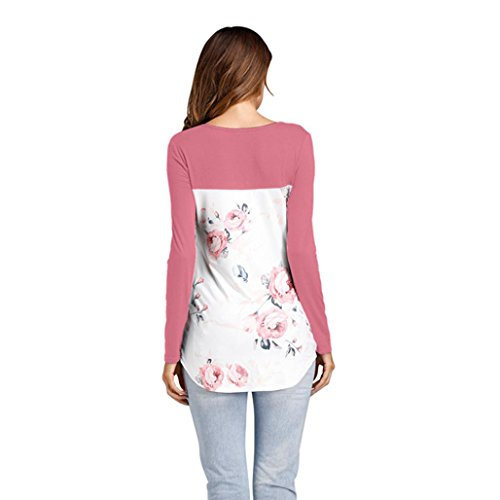 Transer ® Sexy femmes manches longues bandage chemise V cou blouse Rose
