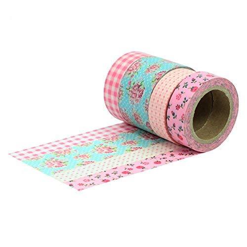 Papierdrachen Washi Tape Set 12 - mit 4 Rollen - Rosa - Masking Tape zum Bekleben und Verzieren von Geschenken Scrapbooking Verpackungen (Tape Masking Rosa)