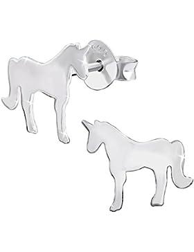 JAYARE Kinder-Ohrstecker Einhorn 925 Sterling Silber 9 x 11 mm Ohrringe