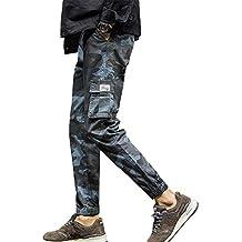 YanHoo Pantalones de Hombre Pantalones de Camuflaje elásticos Ocasionales con Bolsillo Deportivo de Nueve Piezas para