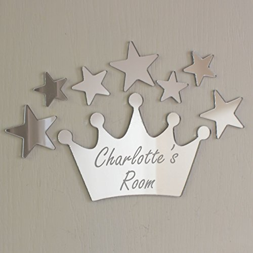Corona specchio Set personalizzato Door Nome Plaque ragazzo ragazze camera segno