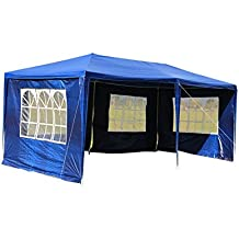 mctech® 3 x 3 m Jardín Tienda Carpa cerveza – Carpa para jardín fijo Carpa Incluye 4 paredes laterales, 3 x ventanas, 1 x puerta con cremallera, resistente al agua PE lona en azul