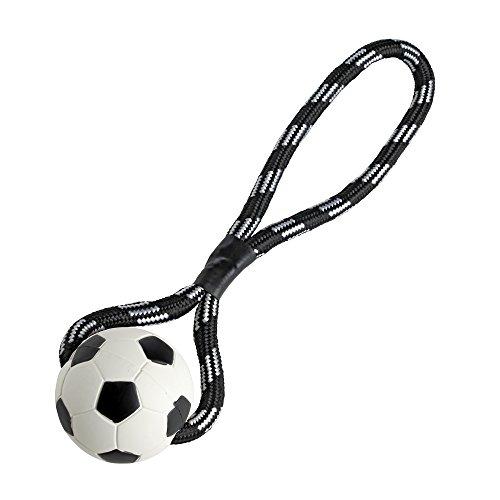 Hunter Hundespielzeug Fußball, mit Wurfseil, Vollgummi, farblich sortiert