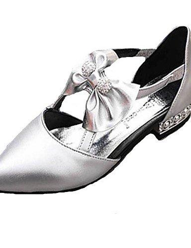 XAH@ Chaussures Femme-Extérieure / Décontracté-Noir / Blanc / Argent-Talon Plat-Bout Pointu-Plates-PU black-us6.5-7 / eu37 / uk4.5-5 / cn37