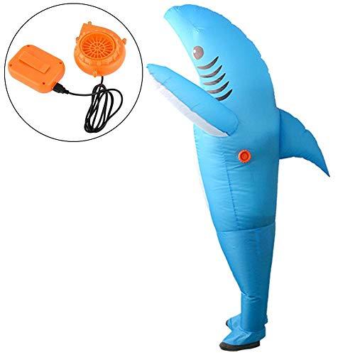 Halloween gonfiabile abbigliamento divertente costume Tricking fantasma e forma di squalo gonfiabile abbigliamento casa stregata performance vestire puntelli con pompetta per gli uomini, blu
