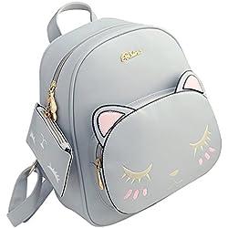 gris Malloom/®nuevo moda mujer bolsa de hombro lona lindo gato bolso oficina bolsa del almuerzo grey