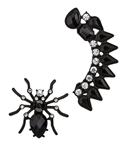 aus schwarzem Spinnen Ohrstecker und Ear Cuff mit Glitzer Strass Steinen, Damen Ohrschmuck, Gothik, Grusel, Karneval (700-686) (Elegante Halloween-kostüme Weiblich)