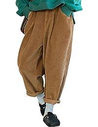 Youlee Femmes Hiver Automne Taille élastique Sarouel Pantalon en Velours  côtelé 15abaee3b8b