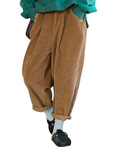 Youlee Donna Inverno Autunno Vita elastica Pantaloni Harem Pantaloni di velluto a coste Giallo