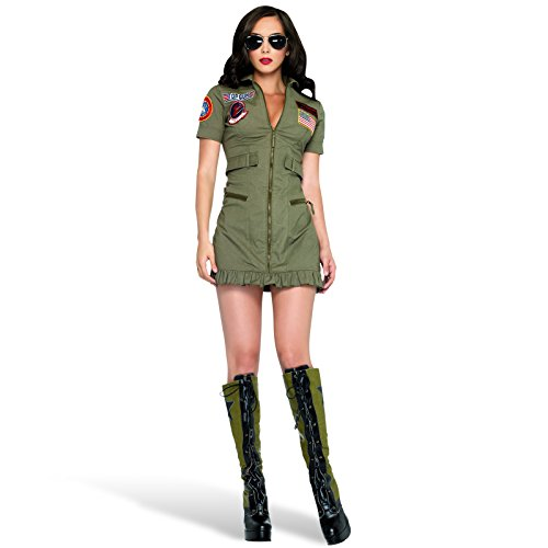 Top Gun Kostümkleid Damen Minikleid oliv - 36/38 (Geek Kostüm Halloween)