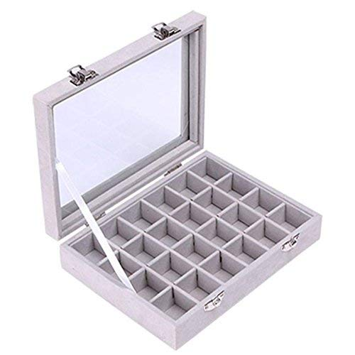 Juanya Organizer Flannel Storage Box for Jewelery Rings Bracelet Necklace Earrings (Gray)