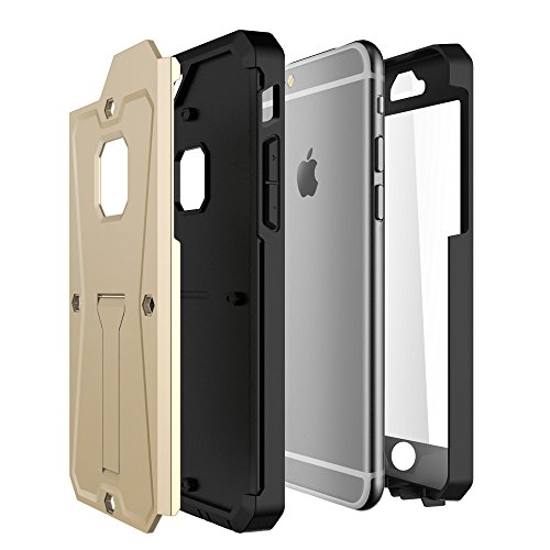 iPhone Case Cover 2 In 1 neue Rüstung Tough Style Hybrid Dual Layer Armor Defender PC Hartschalen mit Standfuß Shockproof Fall Für IPhone 6s 6 ( Color : Gray , Size : IPhone 6s ) Gold