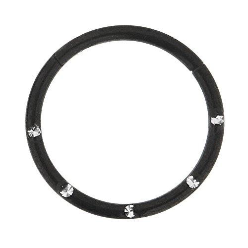 16 Gauge - 12 MM Durchmesser schwarz eloxiert Chirurgenstahl 5 Kristallsteinen gepflastert klappbar Segment Nase Ring Septum Piercing