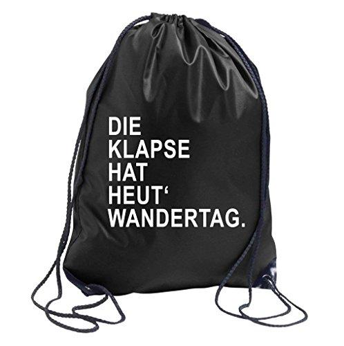 TRVPPY Turnbeutel mit Spruch / Modell Die Klapse hat heut Wandertag / in versch. Farben / Beutel Rucksack Jutebeutel Sportbeutel Fashion (Hats Nerd)