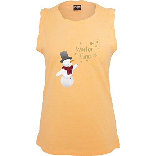 Weihnachten & Silvester - Schneemann Winterzeit - ärmelloses Damen T-Shirt mit Brusttasche Neon Orange
