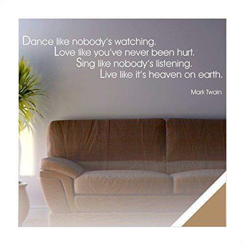 Exklusivpro Wandtattoo Wand-Spruch Dance Love Sing Live (Mark Twain) inkl. Rakel (zit21 hellbraun) 120 x 25cm mit Farb- u. Größenauswahl